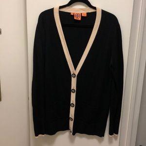 Tory Burch Black & Cream Button Down Cardigan, XL